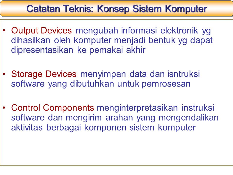 Catatan Teknis: Konsep Sistem Komputer