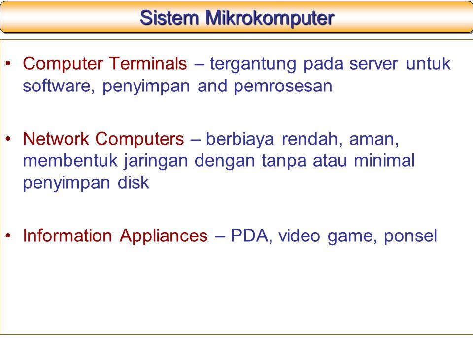 Sistem Mikrokomputer Computer Terminals – tergantung pada server untuk software, penyimpan and pemrosesan.