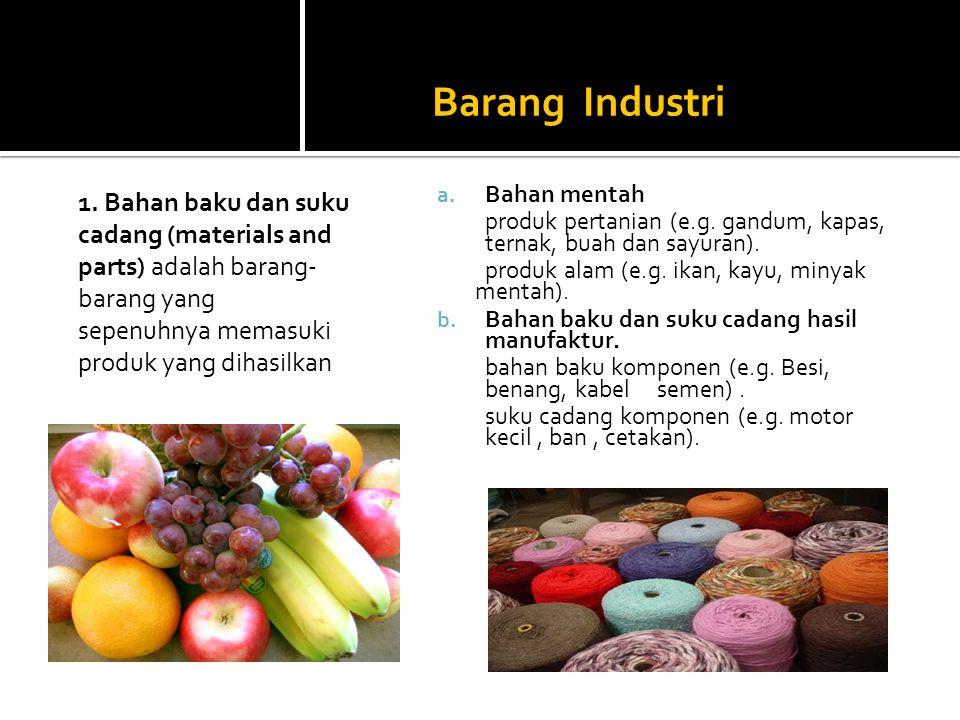 Barang Industri 1. Bahan baku dan suku cadang (materials and parts) adalah barang-barang yang sepenuhnya memasuki produk yang dihasilkan.
