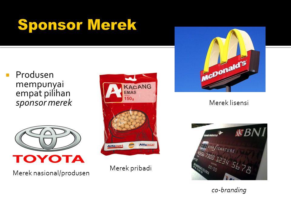 Sponsor Merek Produsen mempunyai empat pilihan sponsor merek
