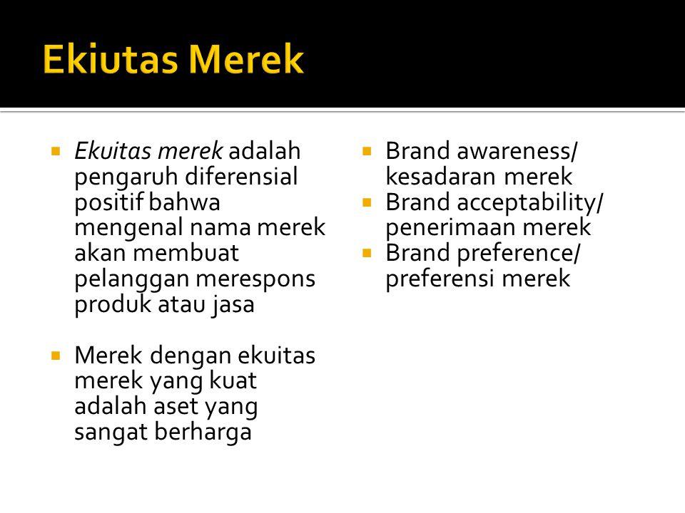 Ekiutas Merek Ekuitas merek adalah pengaruh diferensial positif bahwa mengenal nama merek akan membuat pelanggan merespons produk atau jasa.