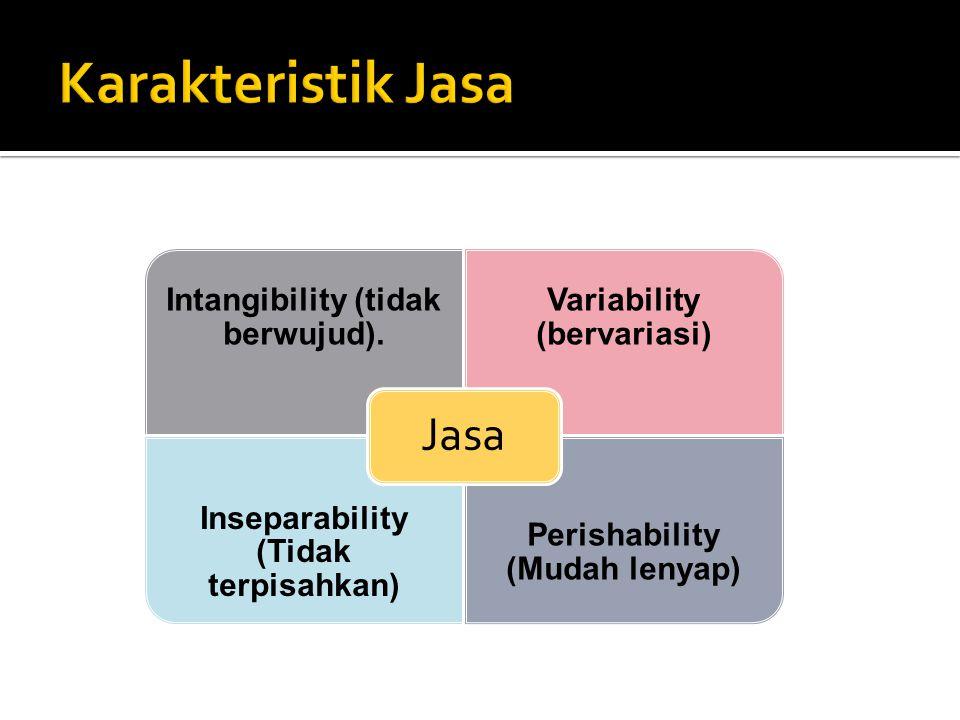 Karakteristik Jasa Jasa Intangibility (tidak berwujud).