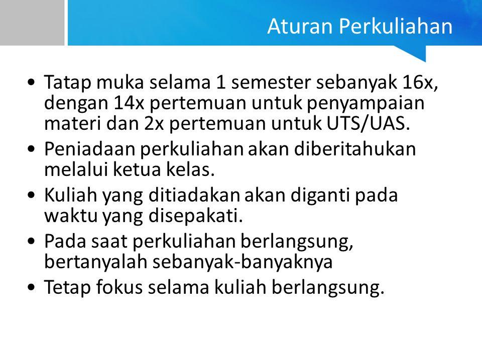 Aturan Perkuliahan Tatap muka selama 1 semester sebanyak 16x, dengan 14x pertemuan untuk penyampaian materi dan 2x pertemuan untuk UTS/UAS.