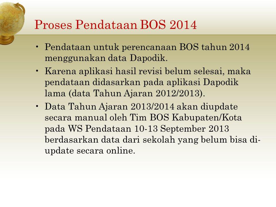 Proses Pendataan BOS 2014 Pendataan untuk perencanaan BOS tahun 2014 menggunakan data Dapodik.