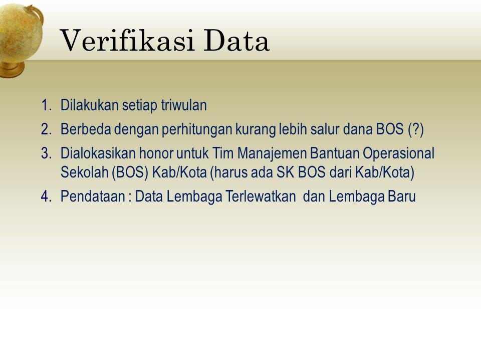 Verifikasi Data Dilakukan setiap triwulan