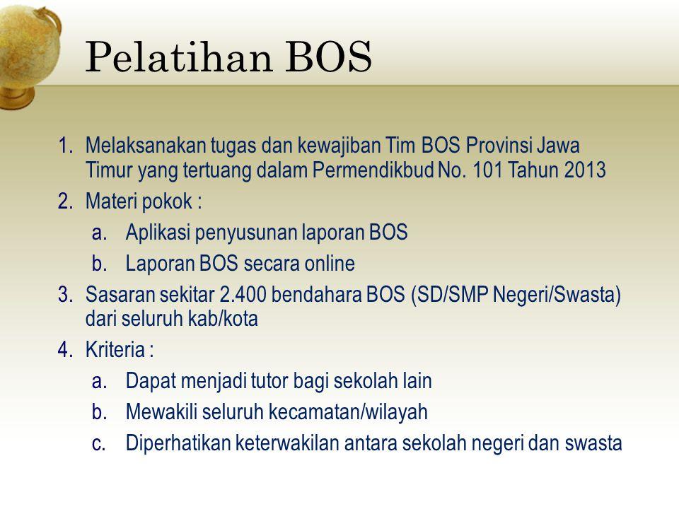 Pelatihan BOS Melaksanakan tugas dan kewajiban Tim BOS Provinsi Jawa Timur yang tertuang dalam Permendikbud No. 101 Tahun 2013.
