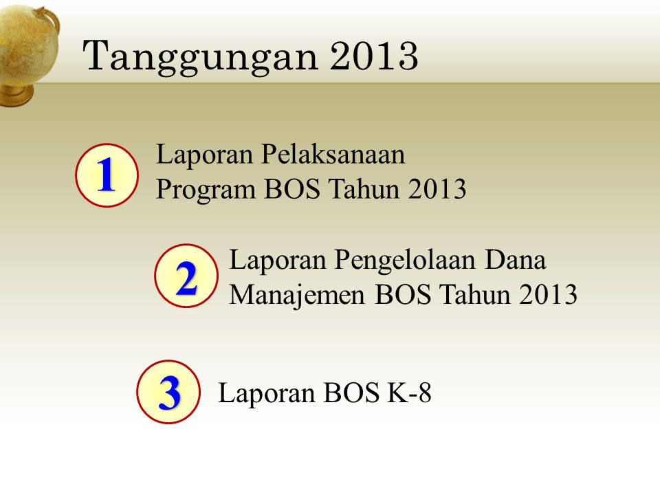 1 2 3 Tanggungan 2013 Laporan Pelaksanaan Program BOS Tahun 2013