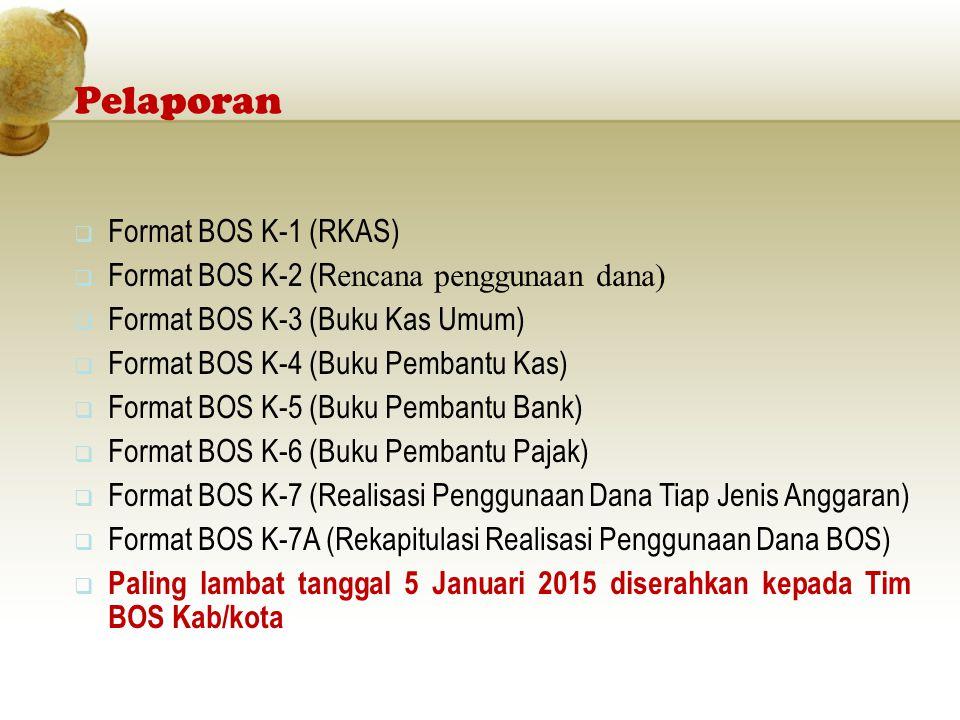 Pelaporan Format BOS K-1 (RKAS)