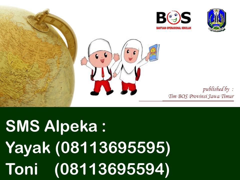 SMS Alpeka : Yayak (08113695595) Toni (08113695594) published by :