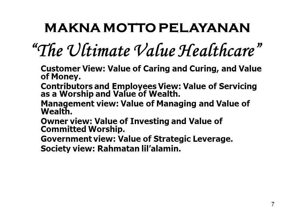 The Ultimate Value Healthcare