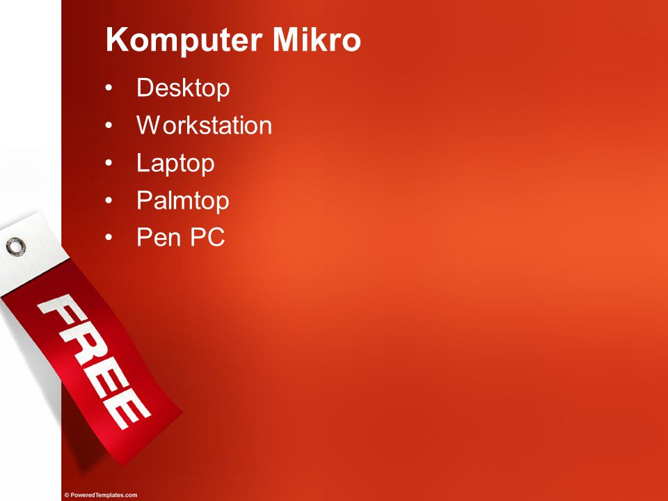 Komputer Mikro Desktop Workstation Laptop Palmtop Pen PC