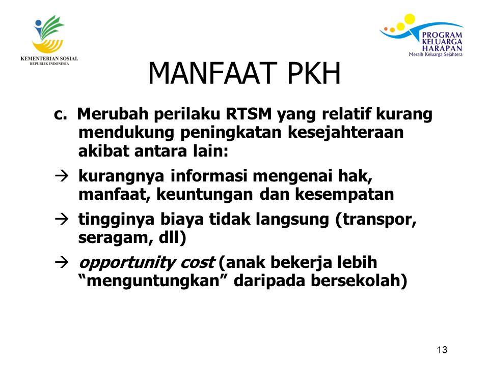 MANFAAT PKH c. Merubah perilaku RTSM yang relatif kurang mendukung peningkatan kesejahteraan akibat antara lain: