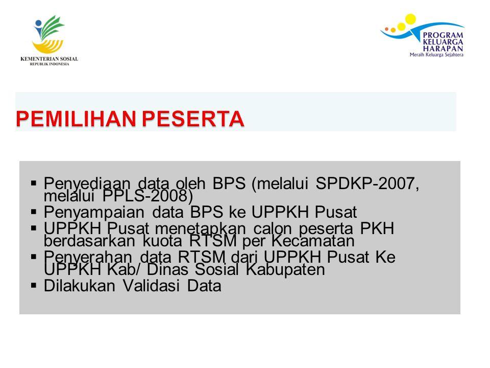 PEMILIHAN PESERTA Penyediaan data oleh BPS (melalui SPDKP-2007, melalui PPLS-2008) Penyampaian data BPS ke UPPKH Pusat