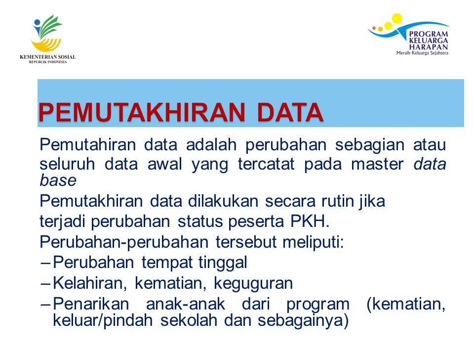 PEMUTAKHIRAN DATA Pemutahiran data adalah perubahan sebagian atau seluruh data awal yang tercatat pada master data base.