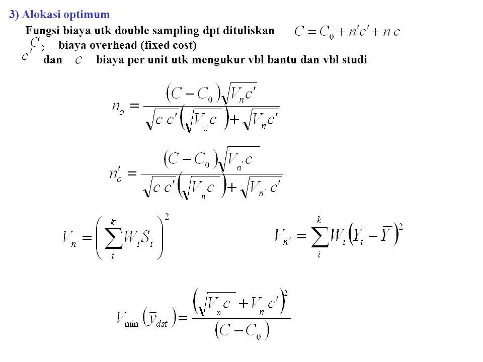3) Alokasi optimum Fungsi biaya utk double sampling dpt dituliskan. biaya overhead (fixed cost)