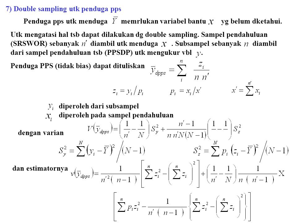 7) Double sampling utk penduga pps