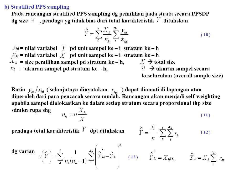 b) Stratified PPS sampling