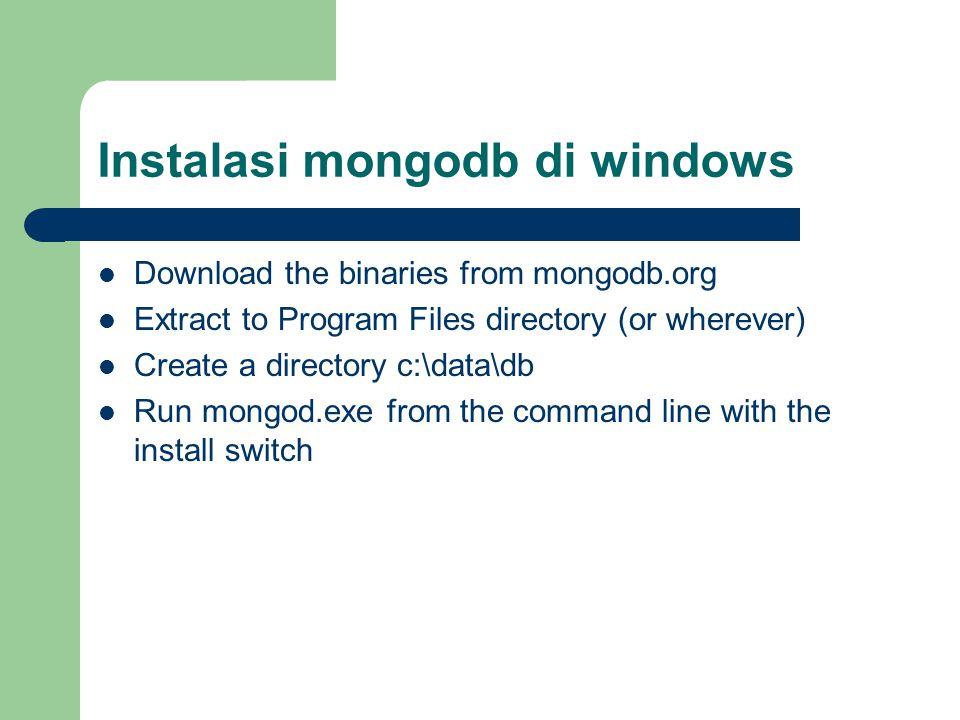 Instalasi mongodb di windows