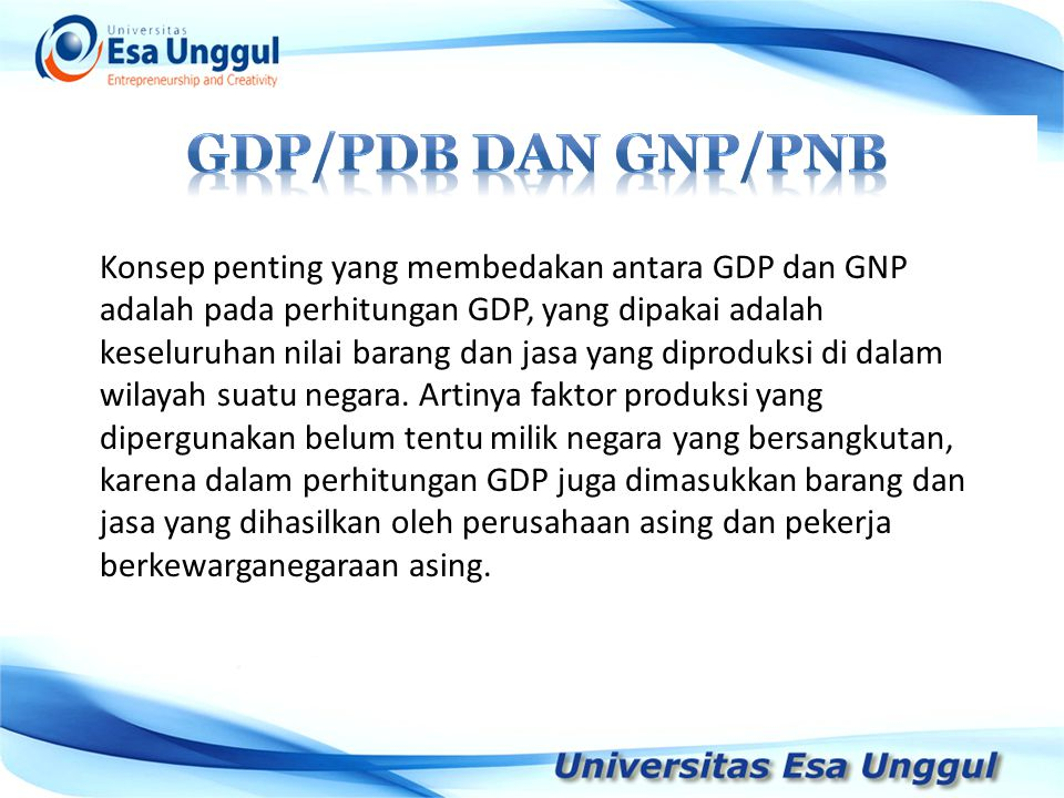 Gdp/pdb DAN GNP/PNB