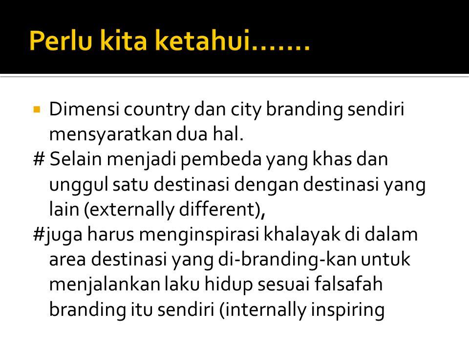 Perlu kita ketahui....... Dimensi country dan city branding sendiri mensyaratkan dua hal.
