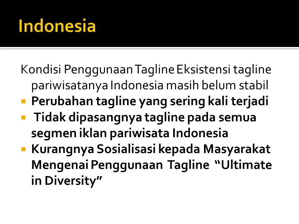 Indonesia Kondisi Penggunaan Tagline Eksistensi tagline pariwisatanya Indonesia masih belum stabil.