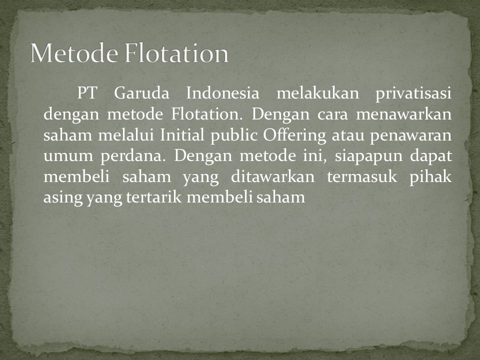 Metode Flotation
