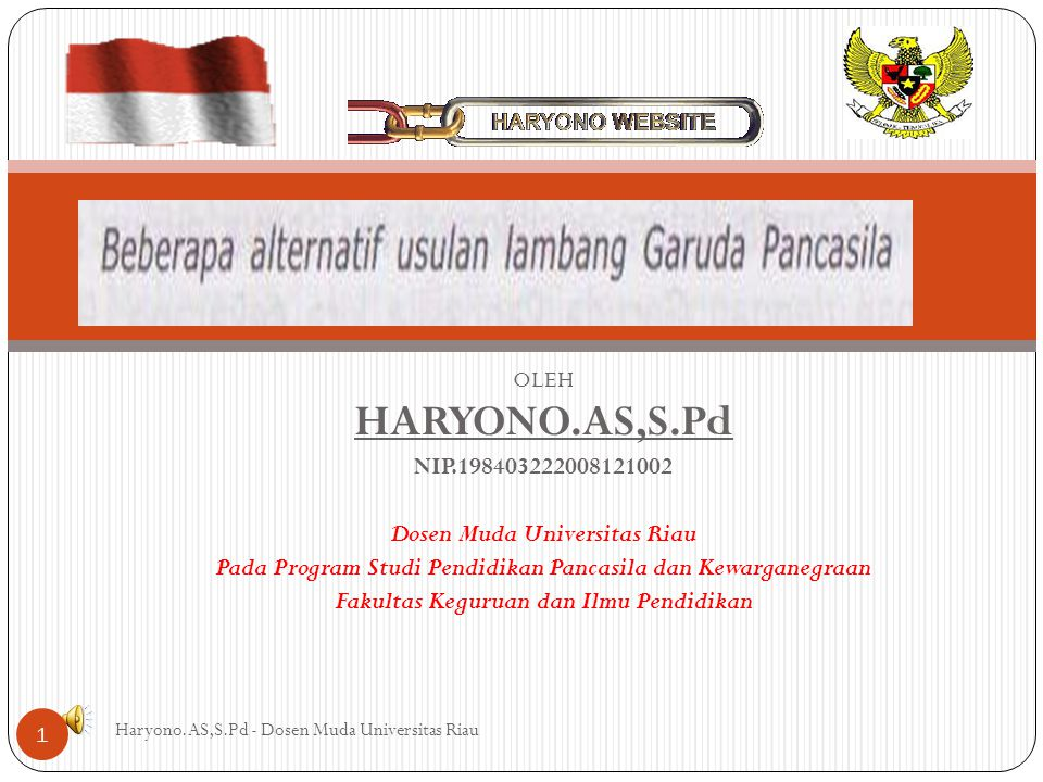 HARYONO.AS,S.Pd NIP.198403222008121002 Dosen Muda Universitas Riau