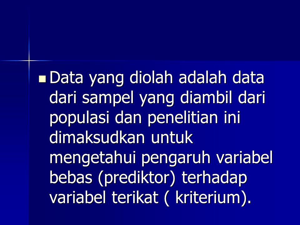 Data yang diolah adalah data dari sampel yang diambil dari populasi dan penelitian ini dimaksudkan untuk mengetahui pengaruh variabel bebas (prediktor) terhadap variabel terikat ( kriterium).