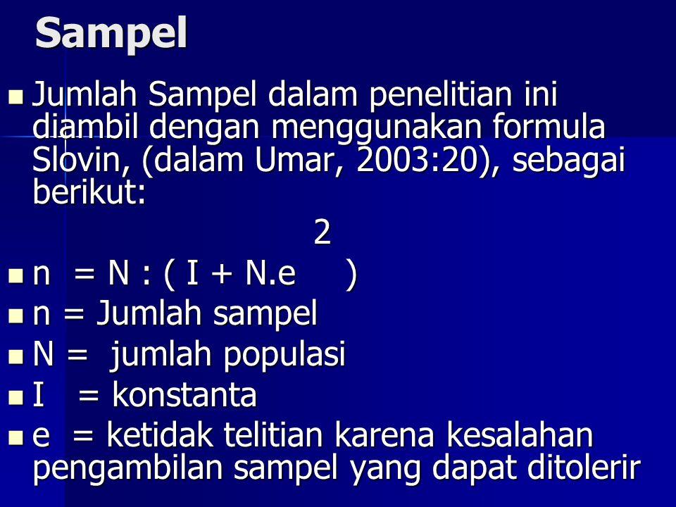 Sampel Jumlah Sampel dalam penelitian ini diambil dengan menggunakan formula Slovin, (dalam Umar, 2003:20), sebagai berikut: