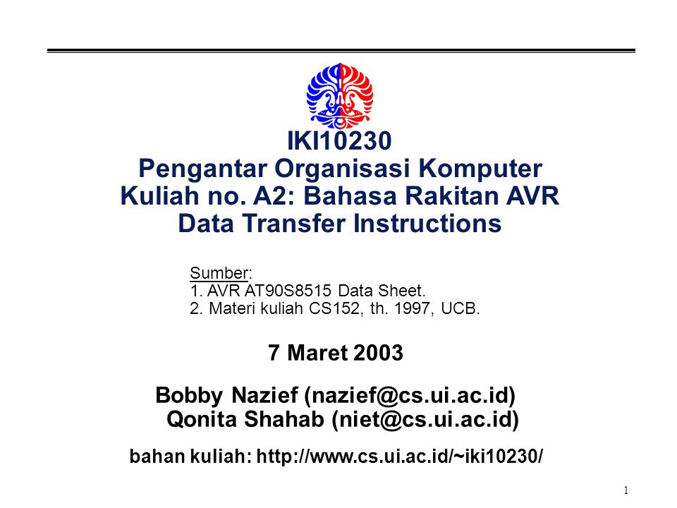 IKI10230 Pengantar Organisasi Komputer Kuliah no