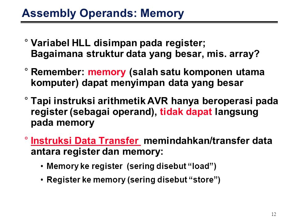 Assembly Operands: Memory