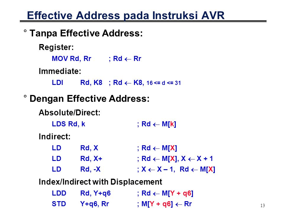 Effective Address pada Instruksi AVR