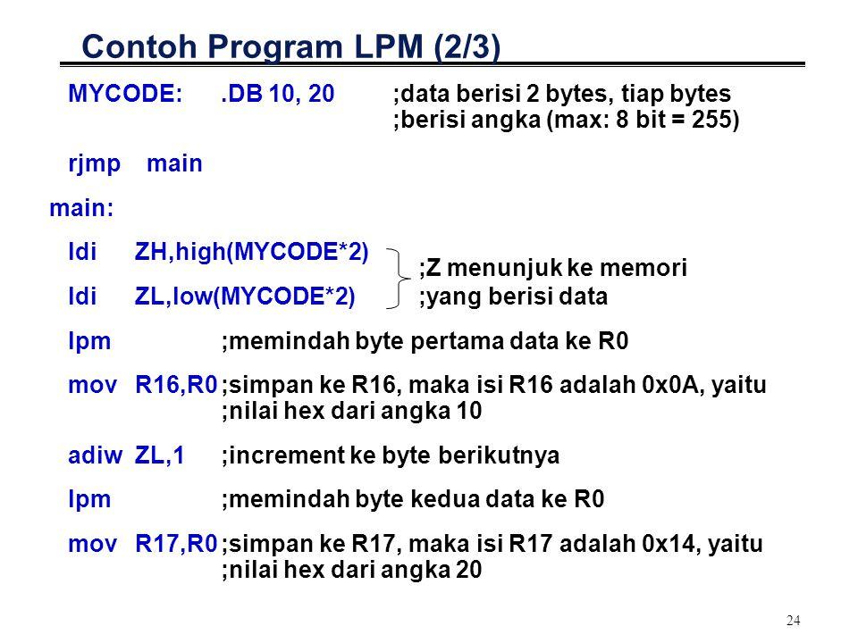 Contoh Program LPM (2/3) MYCODE: .DB 10, 20 ;data berisi 2 bytes, tiap bytes ;berisi angka (max: 8 bit = 255)