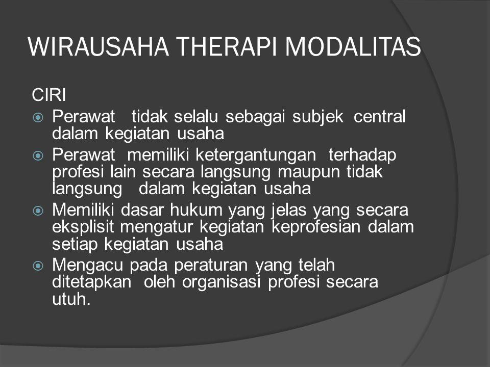 WIRAUSAHA THERAPI MODALITAS