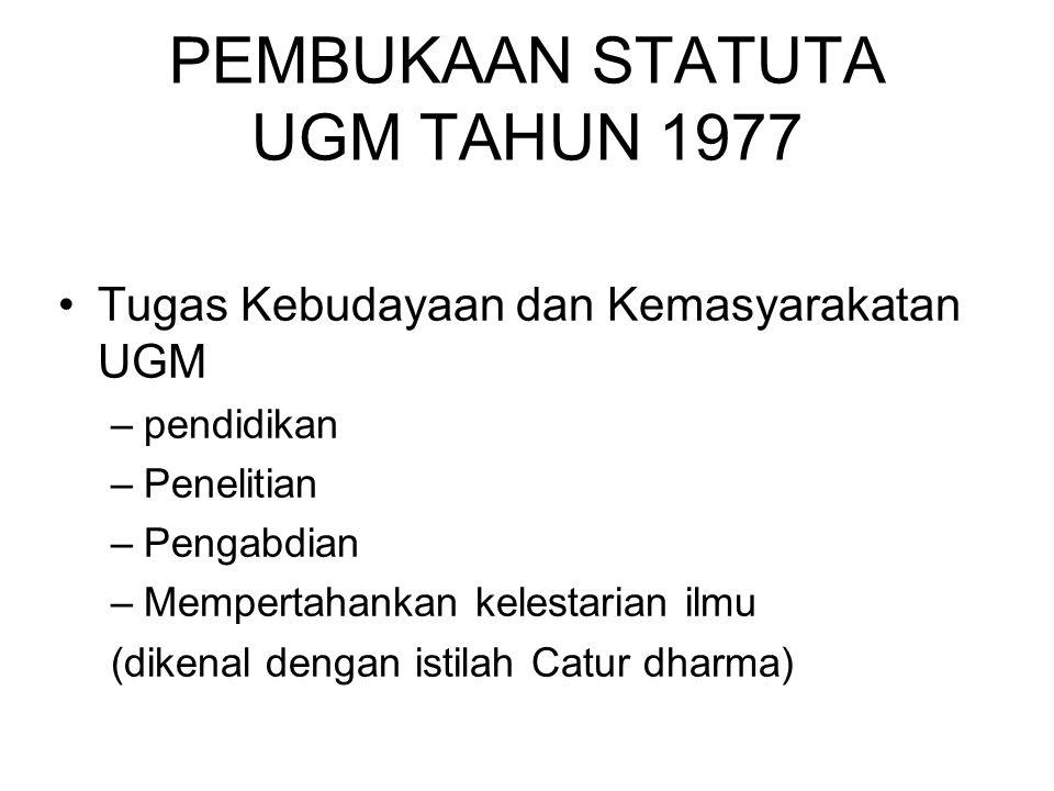 PEMBUKAAN STATUTA UGM TAHUN 1977