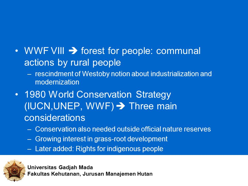 WWF VIII  forest for people: communal actions by rural people