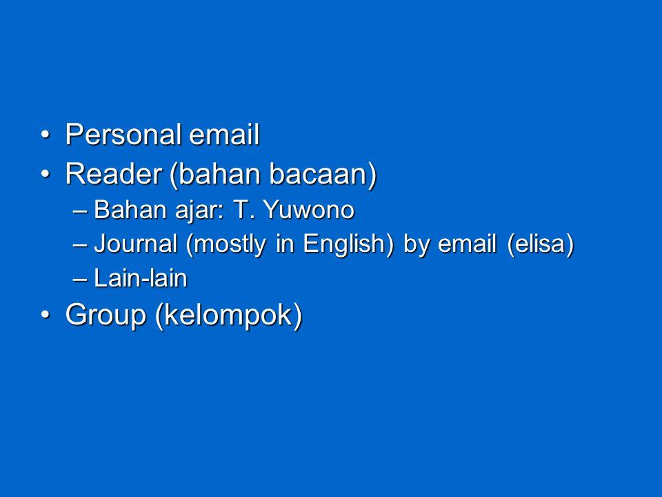 Personal email Reader (bahan bacaan) Group (kelompok)
