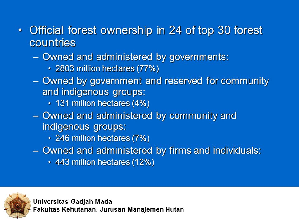 Official forest ownership in 24 of top 30 forest countries
