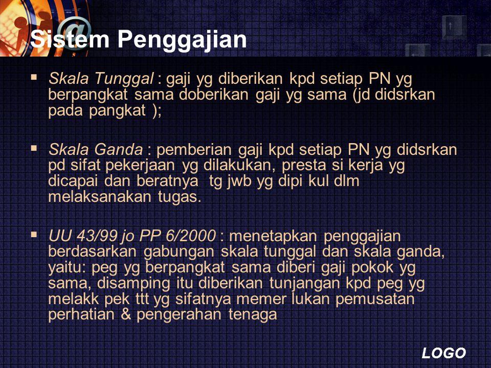 Sistem Penggajian Skala Tunggal : gaji yg diberikan kpd setiap PN yg berpangkat sama doberikan gaji yg sama (jd didsrkan pada pangkat );