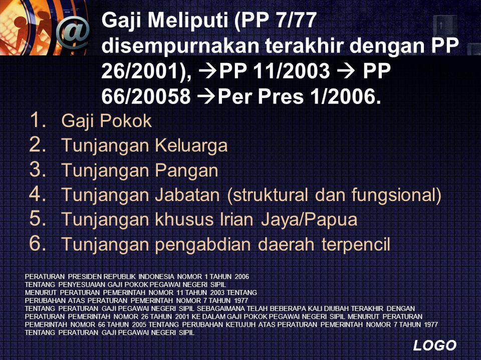 Gaji Meliputi (PP 7/77 disempurnakan terakhir dengan PP 26/2001), PP 11/2003  PP 66/20058 Per Pres 1/2006.