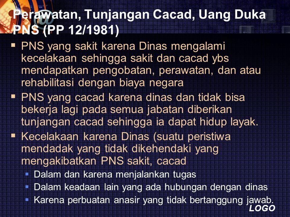 Perawatan, Tunjangan Cacad, Uang Duka PNS (PP 12/1981)