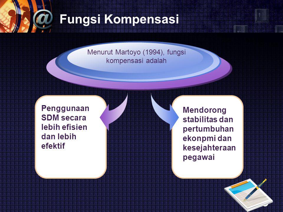 Menurut Martoyo (1994), fungsi kompensasi adalah