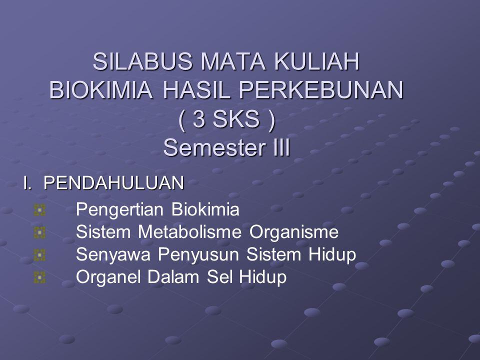SILABUS MATA KULIAH BIOKIMIA HASIL PERKEBUNAN ( 3 SKS ) Semester III
