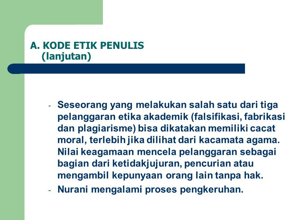 A. KODE ETIK PENULIS (lanjutan)