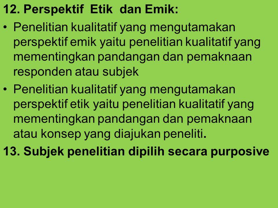 12. Perspektif Etik dan Emik: