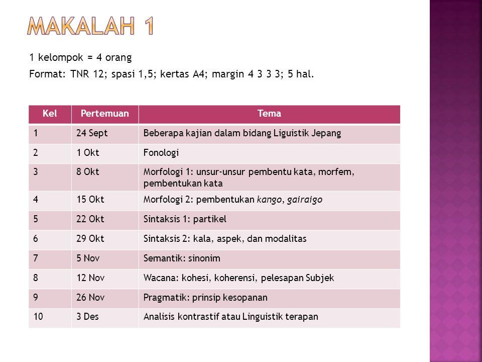 Makalah 1 1 kelompok = 4 orang Format: TNR 12; spasi 1,5; kertas A4; margin 4 3 3 3; 5 hal. Kel. Pertemuan.