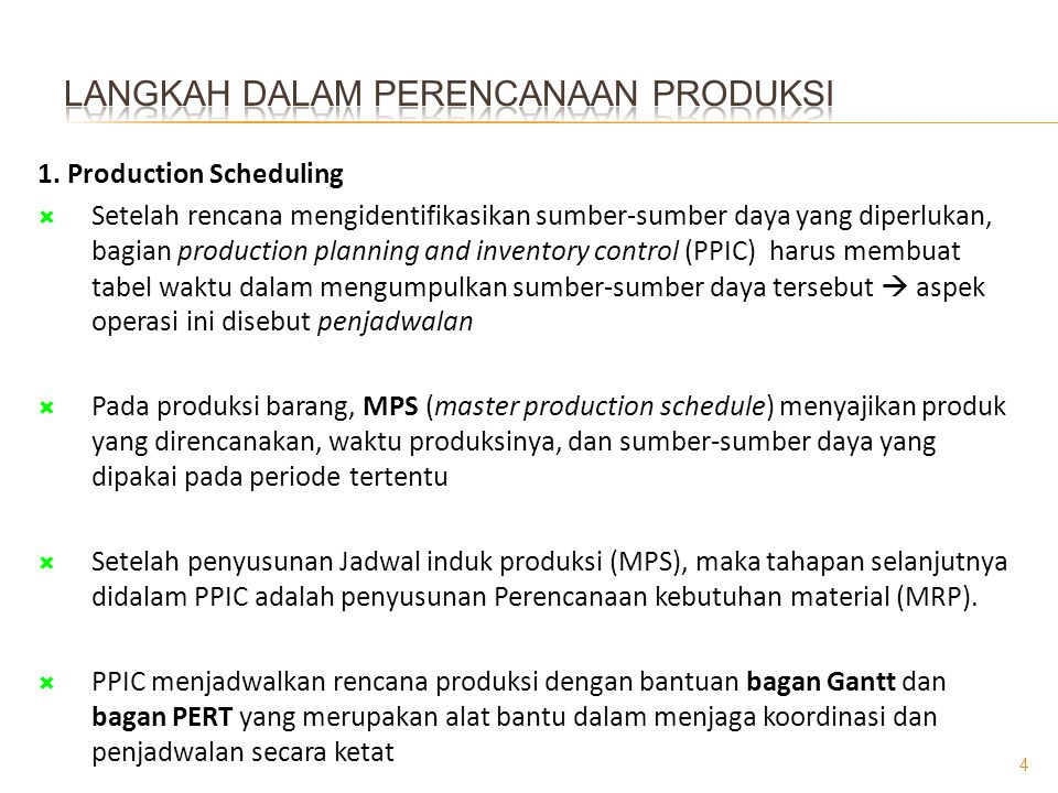 Langkah dalam perencanaan produksi