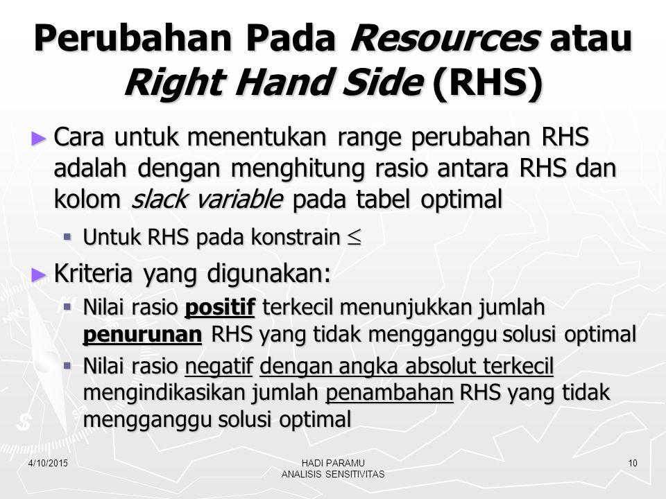 Perubahan Pada Resources atau Right Hand Side (RHS)