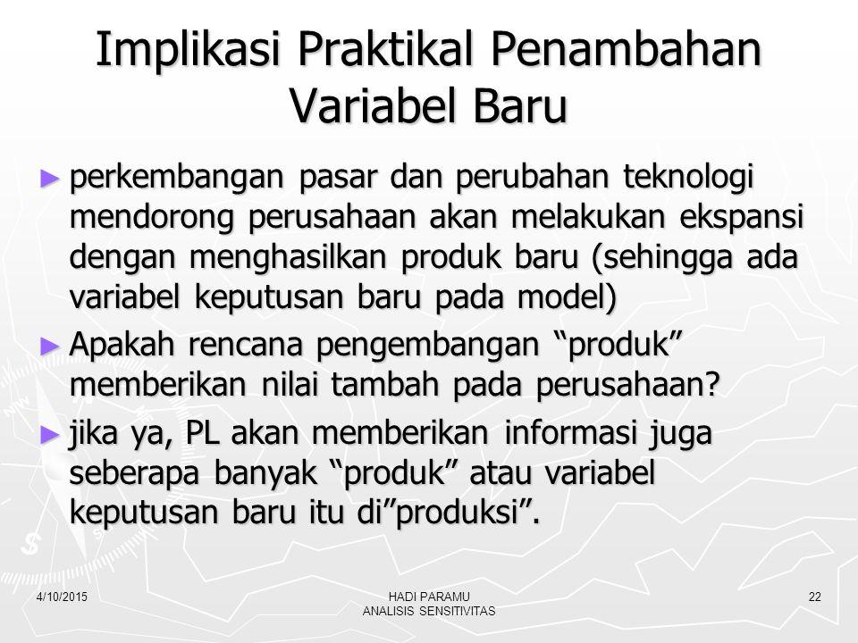 Implikasi Praktikal Penambahan Variabel Baru