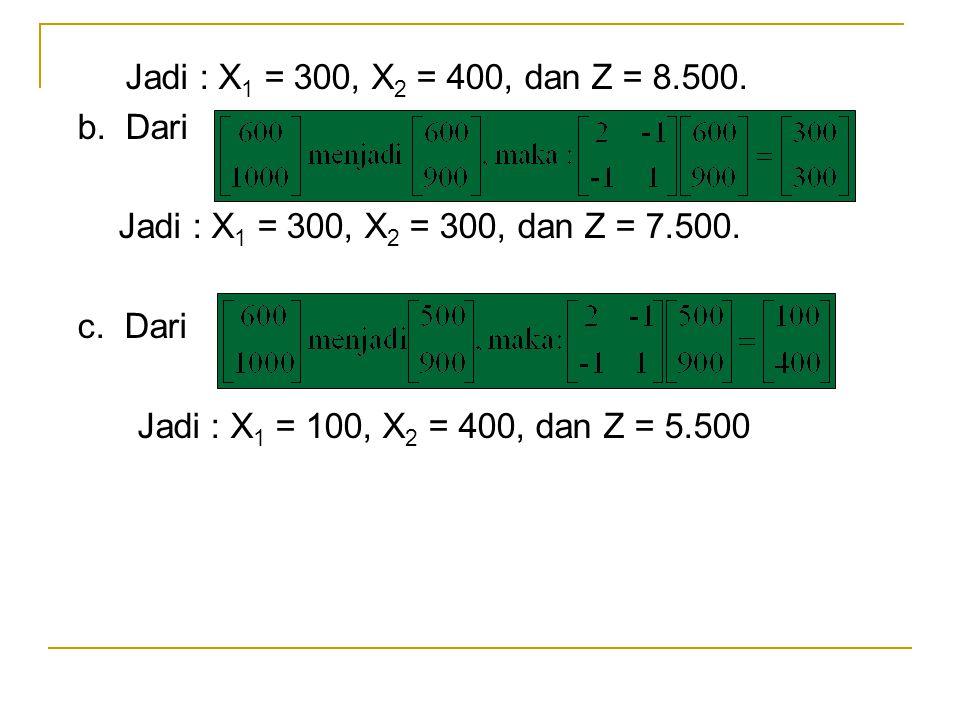 Jadi : X1 = 300, X2 = 400, dan Z = 8.500. b. Dari. Jadi : X1 = 300, X2 = 300, dan Z = 7.500. c. Dari.